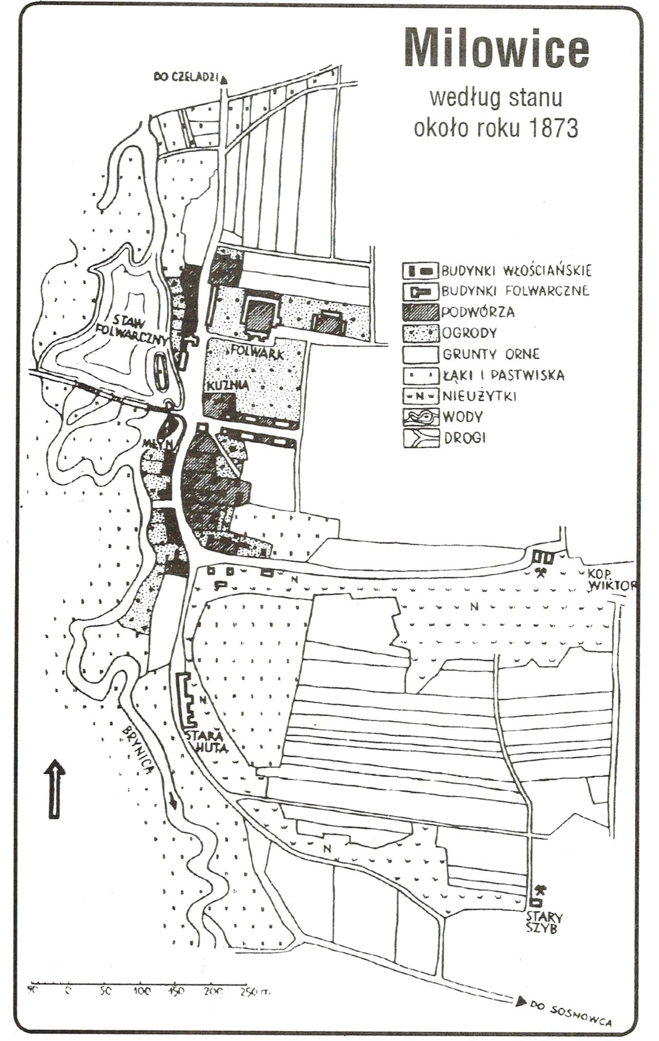 Milowice - Plan według stanu około roku 1873